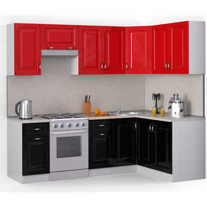 Кухонный гарнитур МегаЭлатон ''Декор'', 2400 х 1400, белый /черный металлик, красный металлик /сахара