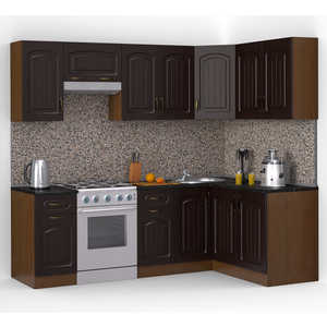 Кухонный гарнитур МегаЭлатон ''Флорида'', 2400 х 1400, орех /венге темный /черный гранит