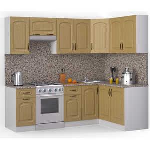 Кухонный гарнитур МегаЭлатон ''Флорида'', 2400 х 1400, белый /венге светлый рифленый /гранит