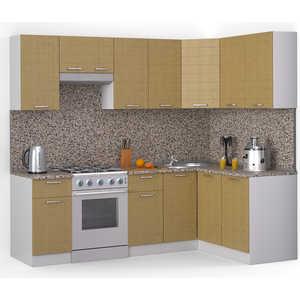 Кухонный гарнитур МегаЭлатон ''Лайн'', 2400 х 1400, белый /венге светлый рифленый /гранит