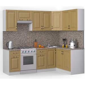 Кухонный гарнитур МегаЭлатон ''Декор'', 2400 х 1400, белый /венге светлый рифленый /гранит