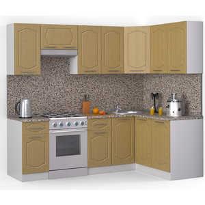 Кухонный гарнитур МегаЭлатон ''Классик'', 2400 х 1400, белый /венге светлый рифленый /гранит