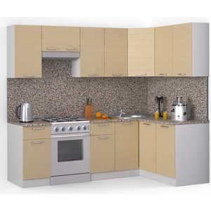 Кухонный гарнитур МегаЭлатон ''Лайн'', 2400 х 1400, белый /лен белый /гранит