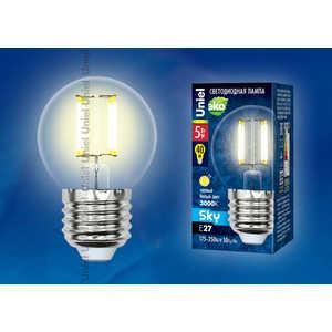 Филаментная светодиодная лампа Uniel LED-G45-5W/WW/E27/CL PLS02WH