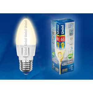 Светодиодная лампа Uniel LED-C37-6W/WW/E27/FR ALP01WH