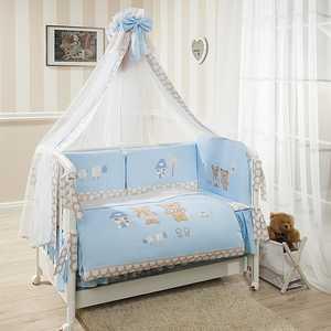 Фотография товара комплект в кроватку 7 предметов Perina Венеция Лапушки Голубой В7-02.4 (434429)