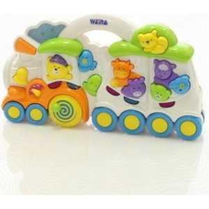 Развивающая игрушка WEINA музыкальная Веселый поезд 2106 wwt деревянный конструктор веселый поезд сафари