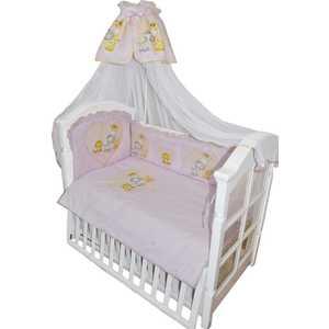 Комплект в кровать Золотой гусь 7 предметов Сафари Розовый 1216 комплект для новорожденного трон плюс 7 предметов цвет белый розовый 3403 размер 50 0 1 месяц