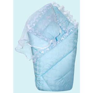 Фотография товара конверт-одеяло Золотой гусь на выписку сатин жакард голубой 20022 (436525)