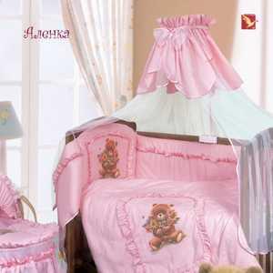 Бортик в кроватку Золотой гусь Аленка розовый цвета/рисунки 4016
