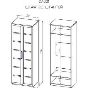 Шкаф платяной ВасКо Соло 001-2202 от ТЕХПОРТ