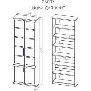 Шкаф книжный ВасКо Соло 037-1101 от ТЕХПОРТ