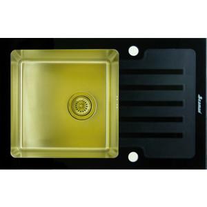Мойка кухонная Seaman Eco Glass SMG-780B Gold (PVD) вентиль-автомат (SMG-780B-Gold.B) мойка кухонная seaman eco glass smg 730b gold pvd вентиль автомат smg 730b gold b