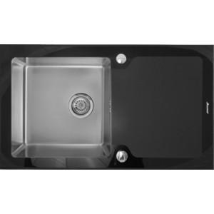 Мойка кухонная Seaman Eco Glass SMG-860B вентиль-автомат (SMG-860B.B) мойка кухонная seaman eco glass smg 730b gold pvd вентиль автомат smg 730b gold b