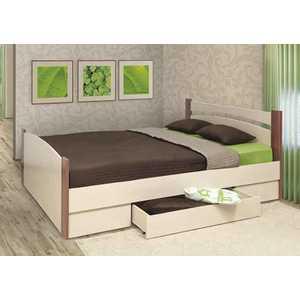 Кровать ОЛМЕКО 140х200 ясень шимо темный/дуб линдберг кровать береста 1475х2070х850мм ясень шимо пр в 1 37