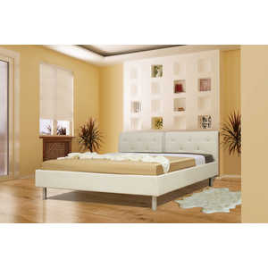 Кровать ОЛМЕКО Анжелика 140х200 бежевый кожзам