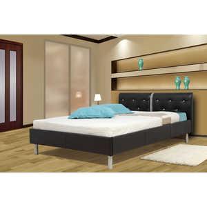 Кровать ОЛМЕКО Анжелика 140х200 черный кожзам
