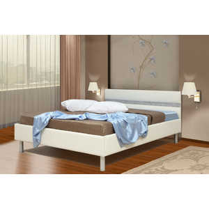 Кровать ОЛМЕКО Плаза 140х200 белый кожзам
