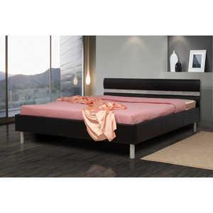 Кровать ОЛМЕКО Плаза 140х200 черный кожзам