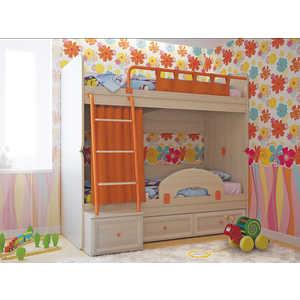 Кровать СКАНД-МЕБЕЛЬ Немо дуб паллада/оранжевый с ограничителем и нижними занавесками