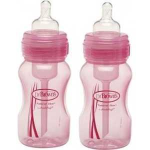 Набор Dr. Browns из 2-х бутылочек с широким горлышком 240 мл розовая полипропилен WB823