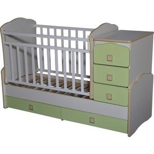 Кровать-трансформер Антел ''Ульяна-1'' маятник фигурные спинки белый/зеленый бархат