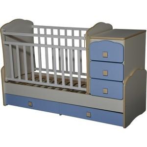 Кровать-трансформер Антел ''Ульяна-1'' маятник фигурные спинки белый/синий бриллиантовый