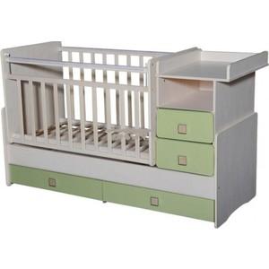Кровать-трансформер Антел ''Ульяна-4'' маятник комод 2 ящика. белый/зеленый бархат