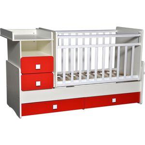 Кровать-трансформер Антел ''Ульяна-4'' маятник комод 2 ящика. белый/красный китайский