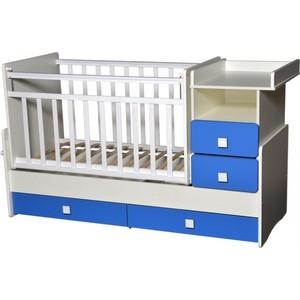 Кровать-трансформер Антел ''Ульяна-4'' маятник комод 2 ящика белый/синий бриллиантовый