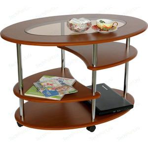 Стол журнальный Калифорния мебель Эллипс со стеклом СЖС-01 вишня стол журнальный калифорния мебель бруклин венге