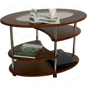 Стол журнальный Калифорния мебель Эллипс со стеклом СЖС-01 орех