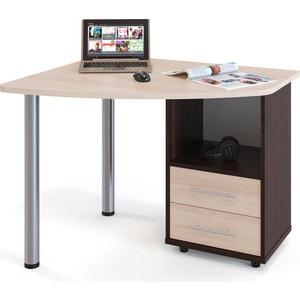 цена Стол компьютерный СОКОЛ КСТ-102 венге/дуб беленый правый