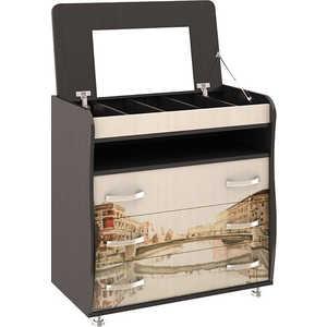 Комод ТриЯ Тип 5 с рисунком венге цаво/дуб молочный стол компьютерный мебель трия профи м венге цаво дуб молочный с рисунком