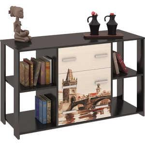 Комод ТриЯ Тип 6 с рисунком венге цаво/дуб молочный стол компьютерный мебель трия профи м венге цаво дуб молочный с рисунком