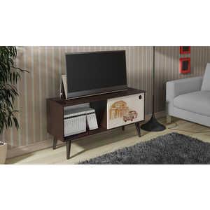 Тумба ТриЯ TV-19 с рисунком венге цаво/дуб молочный антресоль мебель трия фиджи ам 05  31 2 венге цаво