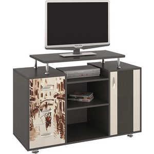 Тумба ТриЯ TV-7 с рисунком венге цаво/дуб молочный антресоль мебель трия фиджи ам 05  31 2 венге цаво