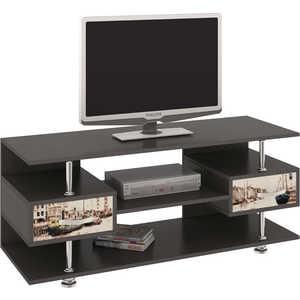 Тумба ТриЯ TV-14 с рисунком венге цаво/дуб молочный антресоль мебель трия фиджи ам 05  31 2 венге цаво