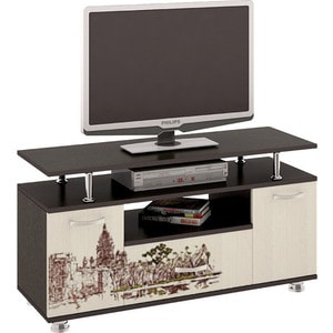 Тумба ТриЯ TV-15 с рисунком венге цаво/дуб молочный стол компьютерный мебель трия профи м венге цаво дуб молочный с рисунком