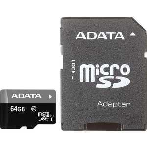 Карта памяти A-Data 64GBPremier microSDXC Class 10 UHS-I U1 (SD адаптер) (AUSDX64GUICL10-RA1)
