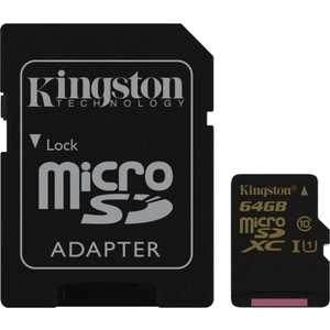 Карта памяти Kingston 64GB microSDXC Class 10 UHS-I U1 (SD адаптер) (SDCA10/64GB)