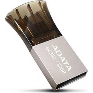 Флеш накопитель A-Data 32GB DashDrive UC330 OTG USB 2.0 MicroUSB Серебро/Черный (AUC330-32G-RBK) usb накопитель electronic science and technology 32g 32g logo