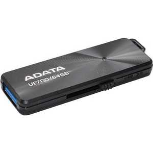 Флеш накопитель A-Data 64GBDashDrive Elite UE700 USB 3.0 Черный металлич. (AUE700-64G-CBK) 50pcs micro usb 3 0 male to usb c usb 3 1 type c female extension data cable for macbook tablet 10cm by fedex