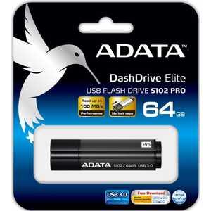 Флеш накопитель A-Data 64GB S102 PRO USB 3.0 Серый алюминий (Read 600X) (AS102P-64G-RGY) цена 2017
