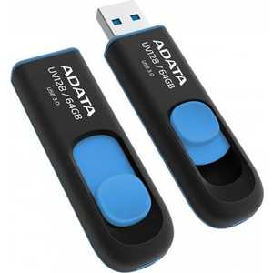 Флеш накопитель A-Data 64GBUV128 USB 3.0 черный/синий (AUV128-64G-RBE) 50pcs micro usb 3 0 male to usb c usb 3 1 type c female extension data cable for macbook tablet 10cm by fedex