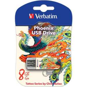 Флеш накопитель Verbatim 8GB Mini Tattoo Edition USB 2.0 Феникс (49883) new top mini palm tattoo power supply red