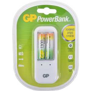 цена Зарядное устройство и аккумулятор GP PowerBank PB410GS130 + 1300mAh AA 2шт.