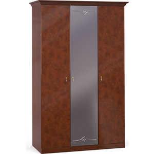 Шкаф Шатура ''Лорена тёмная'' 3 дверный (1+1+1) с зеркалом 470892