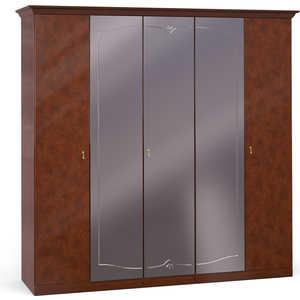 Шкаф Шатура ''Лорена тёмная'' 5 дверный (2+1+2) с зеркалом 470898