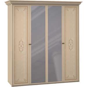 Шкаф Шатура ''Эльба светлая'' 4 дверный (2+2) с зеркалом 390440